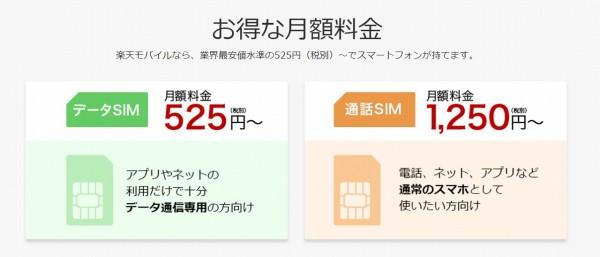 楽天モバイル-料金