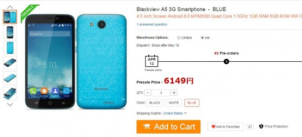Blackview A5 3G Smartphone