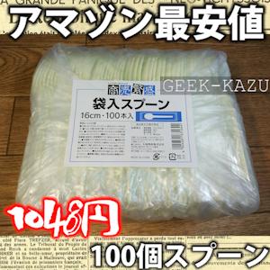 【プラスチックスプーン】アマゾンで一番安い!小梱包のスプーン100個入りを買ってみた!(開封フォトレビュー)