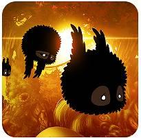 【Androidゲーム】シックな雰囲気でまっくろくろすけの様な動物が飛んで進む(バッドランド BADLAND)