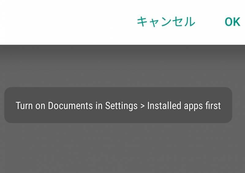 中華スマホを使っていて、Turn on Documents in Settings > Installed apps first と出た時の対処法