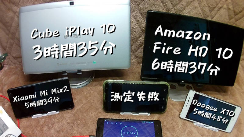 【バッテリー持続時間検証編】Fire HD10、Cube iPlay10、Xiaomi Mi Mix2、Doogee X10