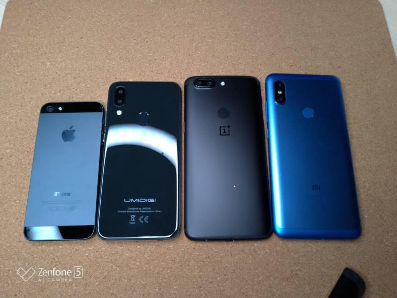 最近のスマホ4機種のサイズを比較してみた【UMIDIGI A3 , Xiaomi Redmi Note 6 Pro , OnePlus 5T , iPhone5】